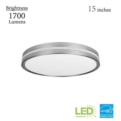 Ashburrow 15 in. LED Color Changing Flush Mount with Night Light Brushed Nickel Finish