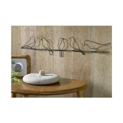 """24 in. x 5 in. """"Bird On A Wire"""" by Graham and Brown Metal Wall Art"""