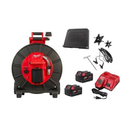 M18 18-Volt Lithium-Ion Cordless 200 ft. Pipeline Inspection System Image Reel Kit with Batteries and Charger