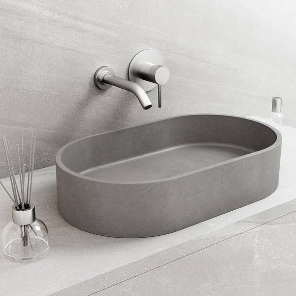 Vigo Concreto Stone 24 In Concrete Oval Vessel Bathroom Sink Gray Vg04058 The Home Depot