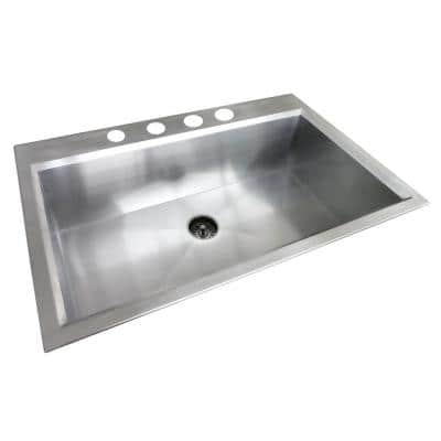 Dual Mount Stainless Steel 33 in. 4-Hole Single Bowl Kitchen Sink in Satin Finish