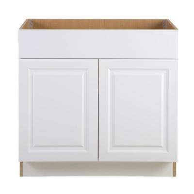 Benton Assembled 36x34.5x24 in. Sink Base Cabinet with False Drawer Front in White