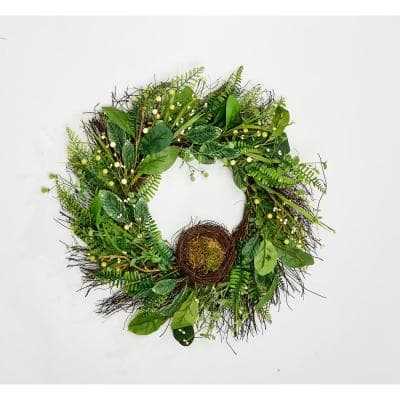 24 in. Green Leaves Berries and Nest Wreath on Natural Twig Base