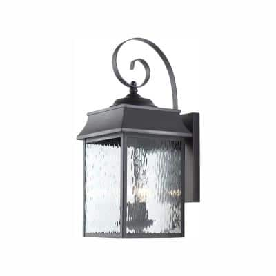 Scroll 2-Light Black Outdoor Wall Lantern Sconce with Water Glass