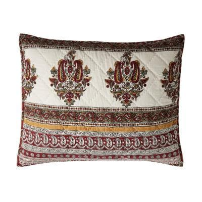 Margaux Multicolored Geometric Textured Cotton Standard Sham