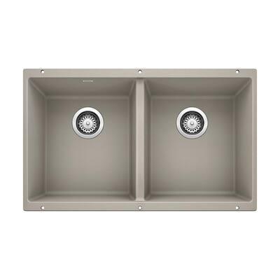 PRECIS Undermount Concrete Gray Granite Composite 29.75 in. 50/50 Double Bowl Kitchen Sink