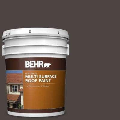 5 gal. #SC-104 Cordovan Brown Flat Multi-Surface Exterior Roof Paint