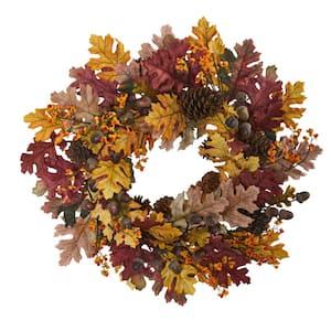 24 in. Oak Leaf, Acorn and Pine Wreath