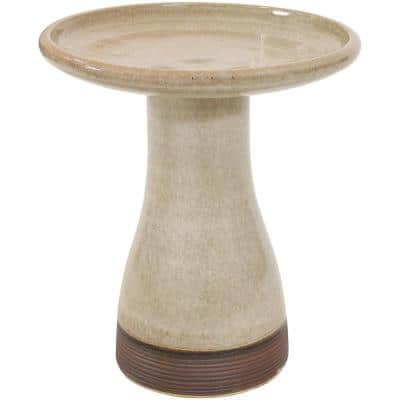 Duo-Tone Yam Glazed Ceramic Outdoor Bird Bath, UV/Frost Resistant