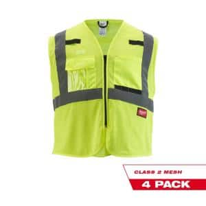 4X-Large/5X-Large Yellow Class 2 Mesh High Visibility Safety Vest with 9-Pockets (4-Pack)