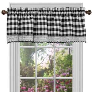Buffalo Check 14 in. L Polyester/Cotton Window Curtain Valance in Black