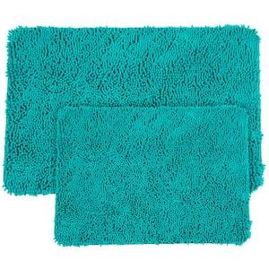 Shag Seafoam 21 in. x 32 in. Memory Foam 2-Piece Bath Mat Set