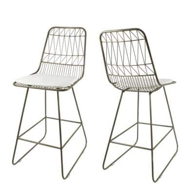 Walcott 42 in. Light Brass Bar Stool with Ivory Cushions (Set of 2)