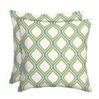 DriWeave Porcelain and Pear Square Outdoor Throw Pillow (2-Pack)