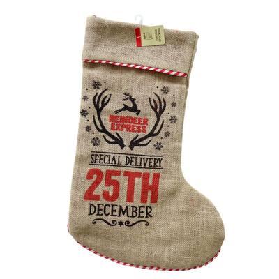 23 in. Vintage Special Delivery Vintage Burlap Stocking