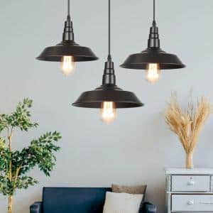 Modern Farmhouse Black Pendant Barnyard II 10 in. Wide 1-Light Warehouse Lighting (3-Pack)
