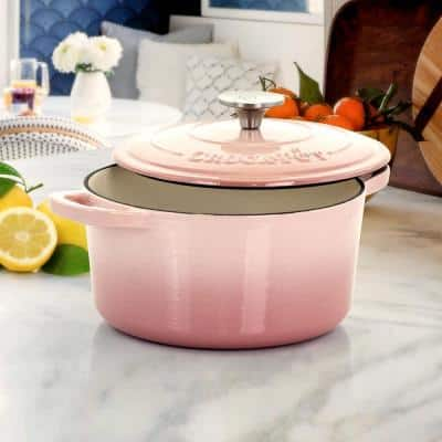 Artisan 3 qt. Round Cast Iron Nonstick Dutch Oven in Blush Pink with Lid