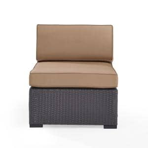 Biscayne Patio Wicker Armless Lounge Chair with Mocha Cushions