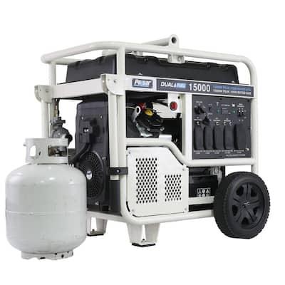 15,000/12,000-Watt Dual Fuel Gasoline/Propane Powered Electric Start Portable Generator V-Twin 713 cc CARB Compliant