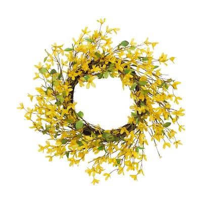 24 in. Dia Yellow Forsythia Wreath