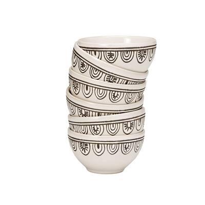 10 oz. White Tribal Stoneware Bowl (Set of 6)
