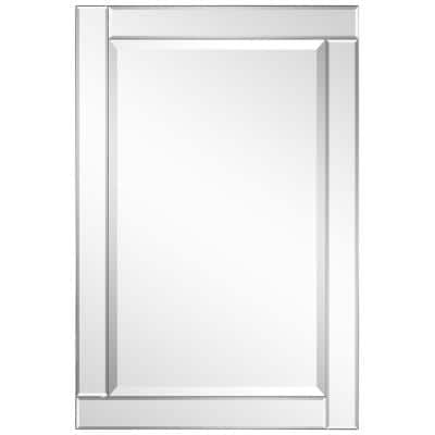 Medium Rectangle Clear Beveled Glass Contemporary Mirror (36 in. H x 24 in. W)