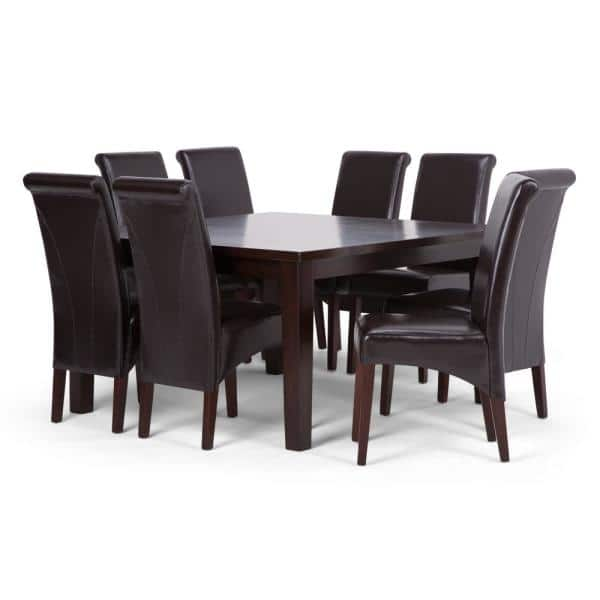 Simpli Home Avalon 9 Piece Dining Set, Nine Piece Dining Room Table Set
