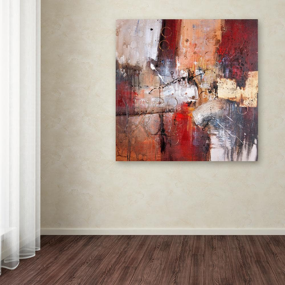 Trademark Fine Art 35 In X 35 In Cube Abstract V By Rio Printed Canvas Wall Art Ma061 C3535gg The Home Depot