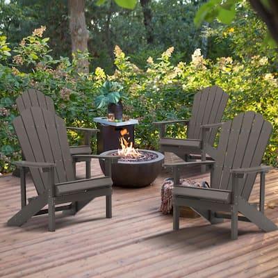 Coffee Reclining Platic Adirondack Chair (Set of 4)