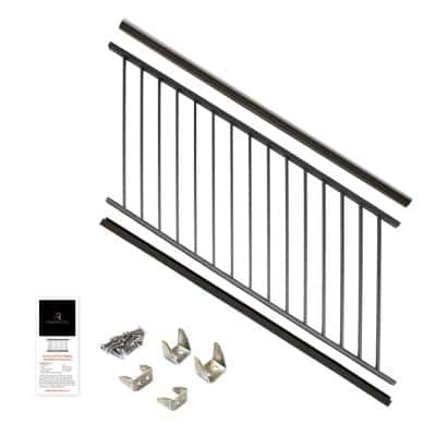 36 in. x 6 ft. Black Powder Coated Aluminum Preassembled Deck Stair Railing