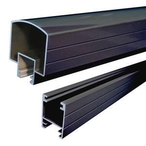 6 ft. Black Aluminum Hand and Base Rail