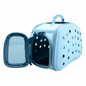 Narrow Shelled Perforated Lightweight Collapsible Military Grade Transportable Designer Pet Carrier
