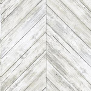 Herringbone White Tan Vinyl Peel & Stick Repositionable Wallpaper Roll (Covers 28.18 Sq. Ft.)