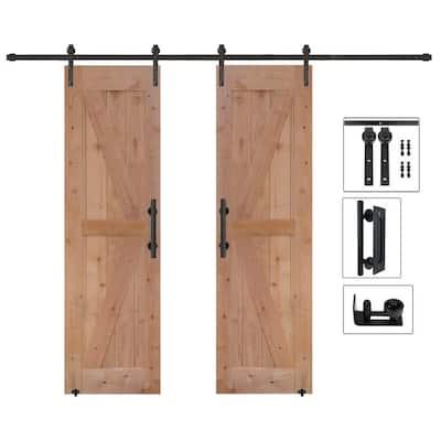 48 in. x 84 in. Assembled Bi-Parting Rustic Unfinished Hardwood Interior Sliding Barn Door Slab with Hardware Kit