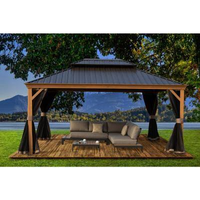 Apollo 12 ft. x 16 ft. Wood Like Aluminum Hardtop Gazebo with Galvanized Steel Roof and Mosquito Net