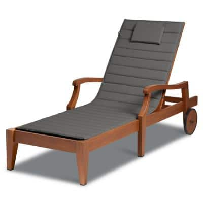 Storigami FadeSafe 26 in. x 80 in. Outdoor Chaise Lounge Cushion in Light Charcoal