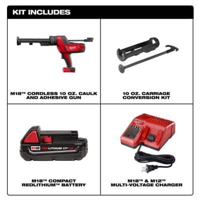 M18 18-Volt Lithium-Ion Cordless 10 oz. Caulk and Adhesive Gun with one 1.5 Ah Battery, Charger