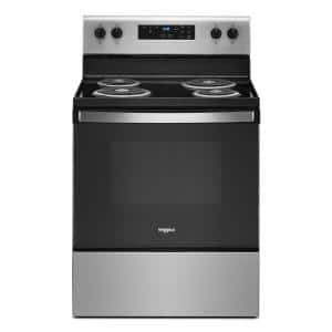 30 in. 4.8 cu. ft. 4-Burner Electric Range with Self-Cleaning in Stainless Steel with Storage Drawer