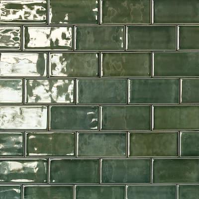 Delphi Subway Deep Emerald 3 in. x 6 in. Polished Ceramic Tile (4 Sq. Ft. / Case)