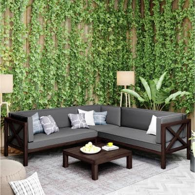 Nobles Brown 4-Piece Wood Outdoor Sectional Set with Gray Cushions