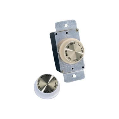 White and Ivory Rotary Wall Fan Switch