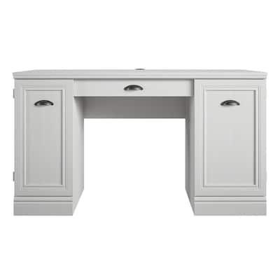 Vearo 53.6 in. White Double Pedestal Desk
