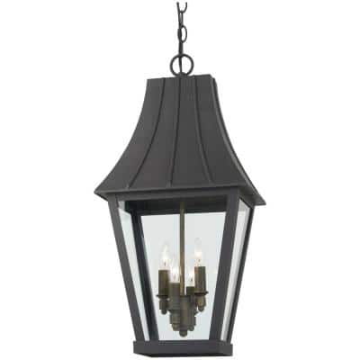Chateau Grande 4-Light Sand Coal and Burnt Gold Outdoor Pendant with Clear Glass