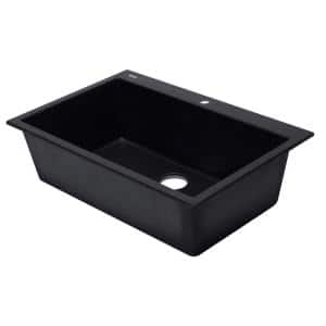 AB3322DI-BLA Drop In Granite Composite 33 in. 1-Hole Single Bowl Kitchen Sink in Black