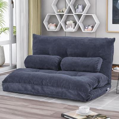 Bluish Gray Adjustable Folding Futon Sofa Bed with 2-Pillows