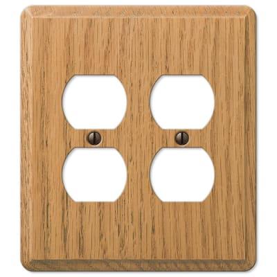 Contemporary 2 Gang Duplex Wood Wall Plate - Light Oak