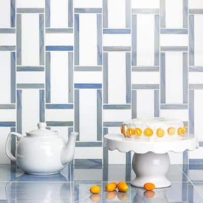 Mingle Blue and Thassos 12.83 in. x 12.63 in. Polished Marble Floor and Wall Mosaic Tile (1.12 sq. ft./Each)