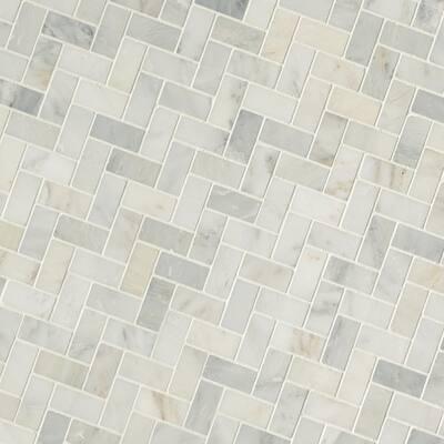 Arabescato Carrara Herringbone 6 in. x 6 in. Honed Marble Mesh-Mounted Mosaic Tile Sample (0.25 sq. ft.)