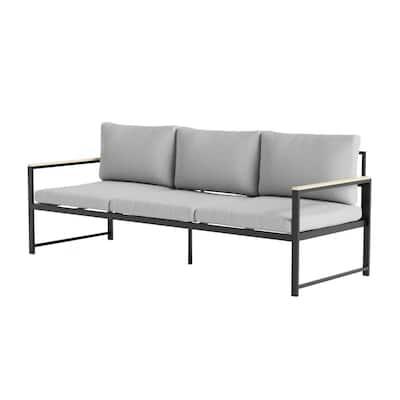 Meg Outdoor Metal Sofa with Light Gray Cushions