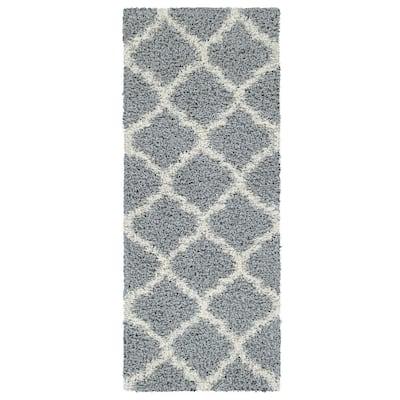 Cozy Shag Collection Gray/Cream Moroccan Trellis Design 3 ft. x 8 ft. Contemporary Shag Runner Rug